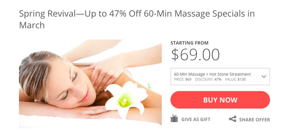 Seasonal offering sent through email marketing